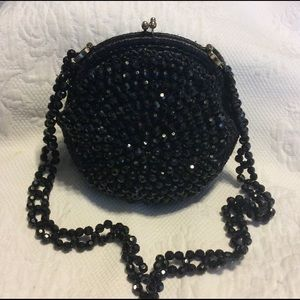 Vintage Black Beaded shoulder Bag